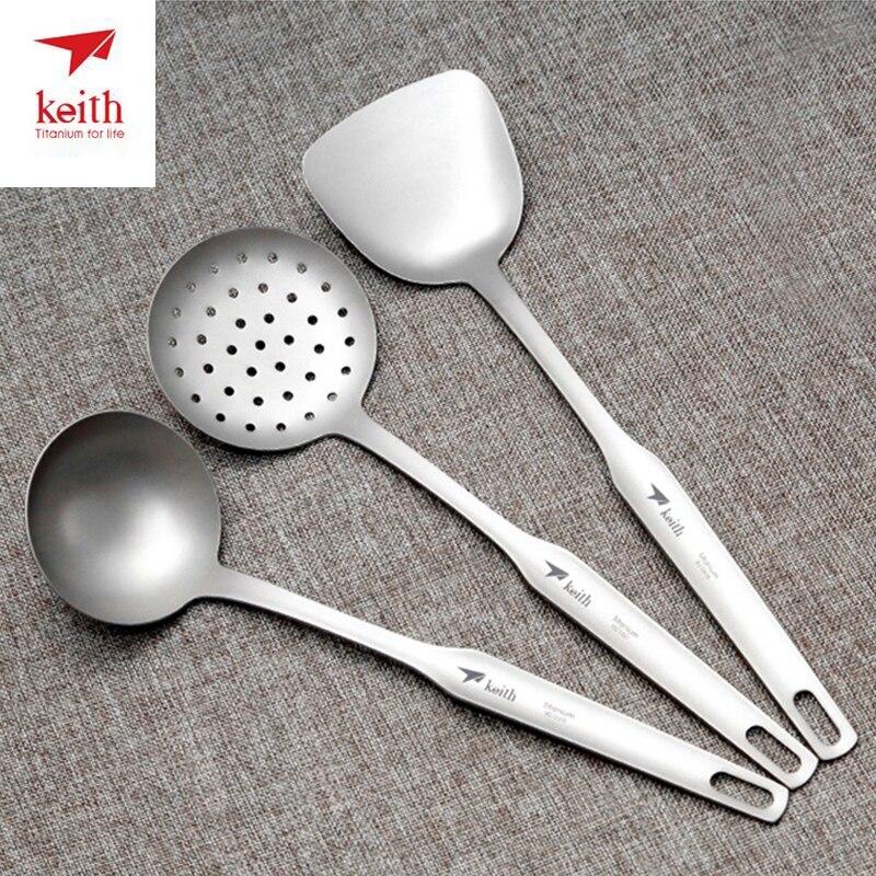 Three piece Suit Keith Titanium Spatula Titanium Soup Spoon Colander Long Handle Cooking Shovel Kitchen Tools