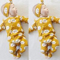 2 sztuk Smile Cloud Print Romper Newborn Baby Girl Ubrania Urocza Tops + Opaski Niemowlę Dwa Kawałki Stroje Dzieci Zestawy żółty