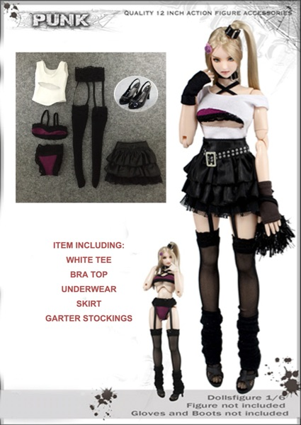 1 6 Fashion Fluffy Short Skirt Punk Suit Costume Models for 12 quot Collectible Action Figure DIY Accessories in Action amp Toy Figures from Toys amp Hobbies