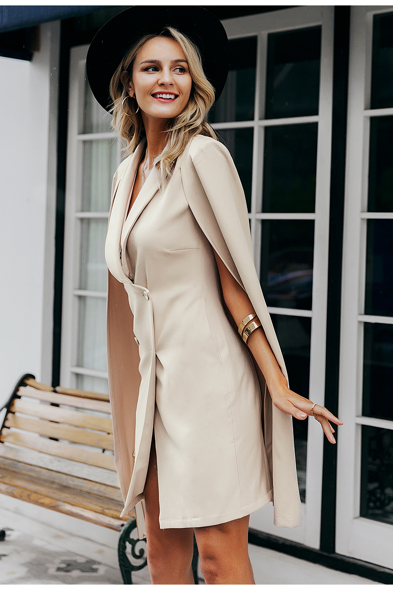 Simplee Vintage cloak blazer women dress Office ladies v neck shawl sleeveless dress female Solid celebrity party dress vestidos 6