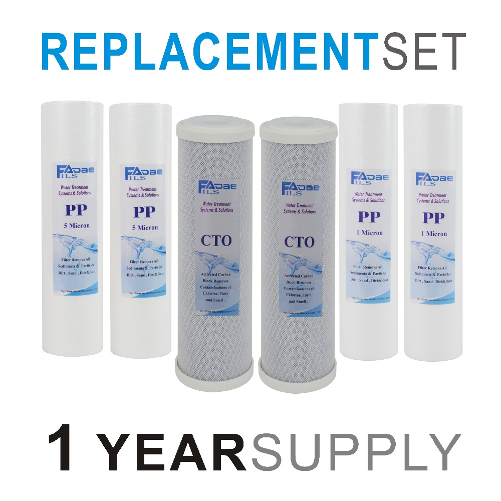 1 YEAR SUPPLY Replacement Filter sets 2PCS PP Filter 5micron 2PCS PP Filter 1 micron 2PCS