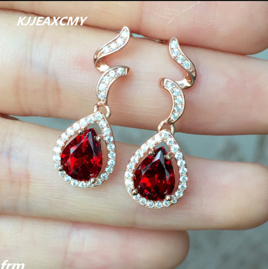 KJJEAXCMY Fine Jewelery 925 silver earrings on new Madagascar natural fire explosion of wonderful quality Garnet Earrings