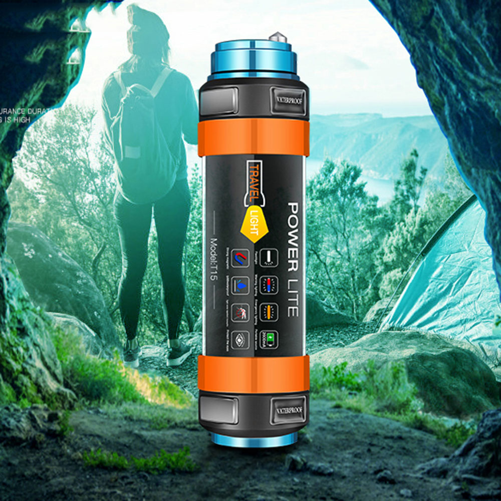 Купить с кэшбэком IP68 Waterproof Portable Lantern Built-in 7800mAh LED Camping Flashlight USB Rechargeable Magnetic Hand Torch For Hiking Diving