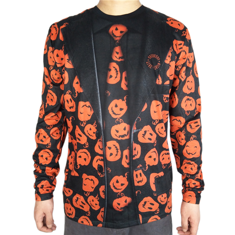 Scary Jack O Lantern Printed Halloween Costume for Men Horror Costumes Long Sleeve Pumpkin T Shirt