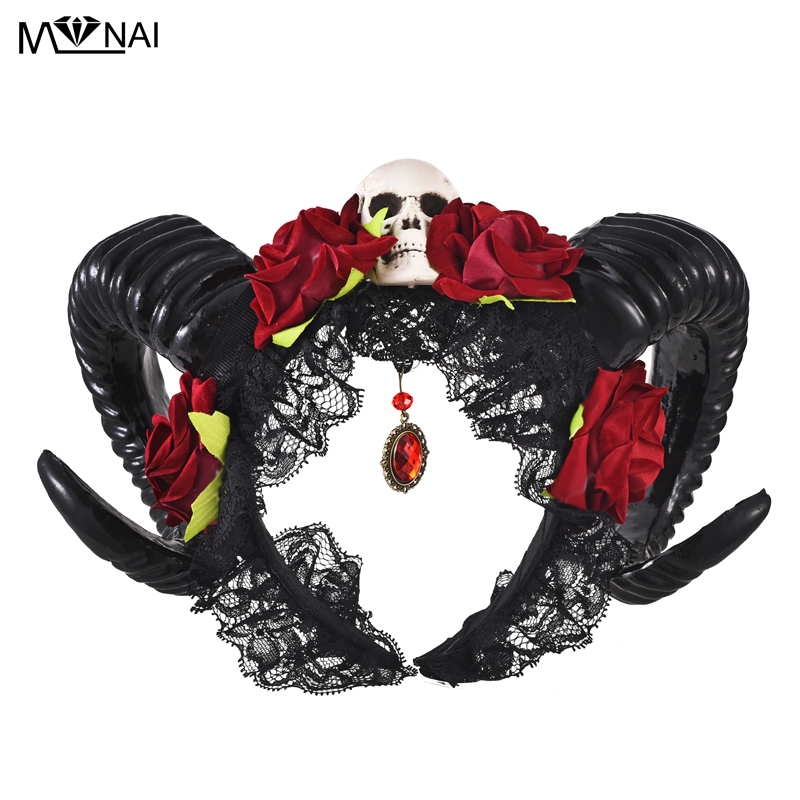 Steampunk Horn Headband Gothic Devil Floral Horns Headpieces Halloween Skull Accessories With Veil Fancy Dress Hair Accessories