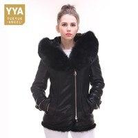 2018 New Short Slim Fitness Black Fur Jackets Women Fashion Brand With Fur Trim Hoodie Coats Tops Plus Size Womens Streetwear
