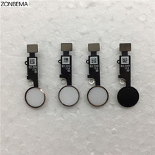 """ZONBEMA 10pcs/lot High quality Home button with Flex Cable Ribbon assembly For iPhone 7 7 Plus 4.7"""" 5.5"""" Replacement Part"""