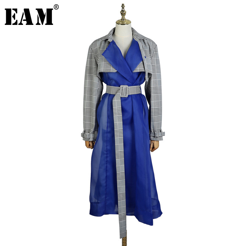 [EAM] 2019 New Spring Lapel Long Sleeve Plaid Printed Hem Blue Mesh Split Joint Windbreaker Women   Trench   Fashion Tide JL547