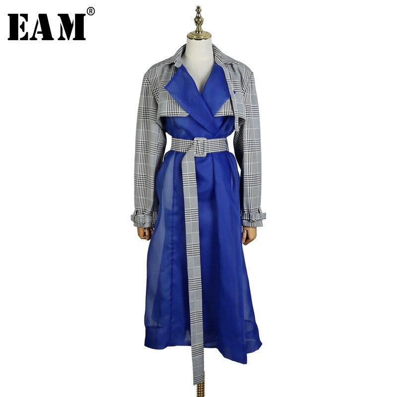 [EAM] 2019 New Spring Lapel Long Sleeve Plaid Printed Hem Blue Mesh Split Joint Windbreaker Women Trench Fashion Tide JL547