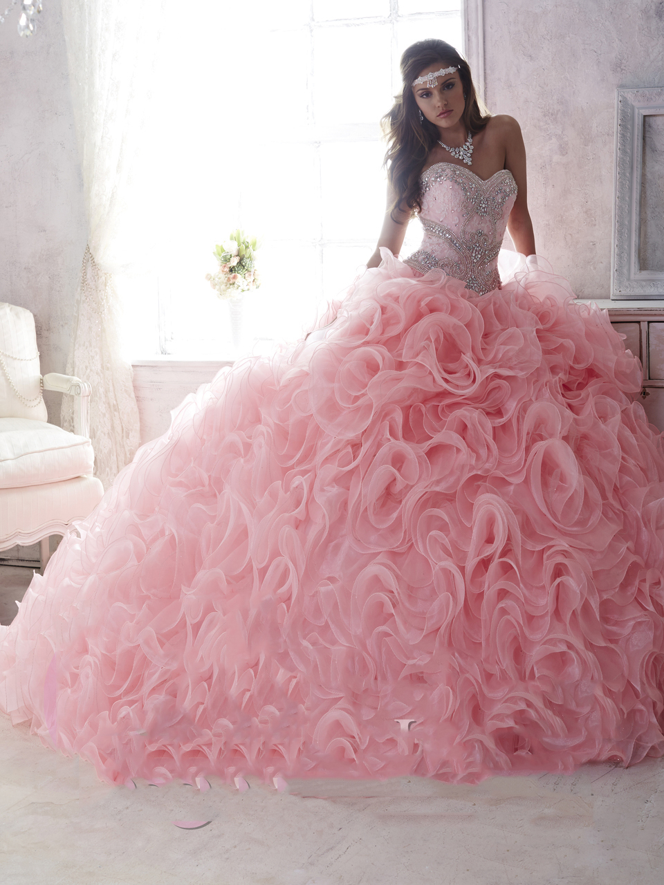 Romantic Pink Lace Sweetheart Detachable Skirts Quinceanera Dresses ...