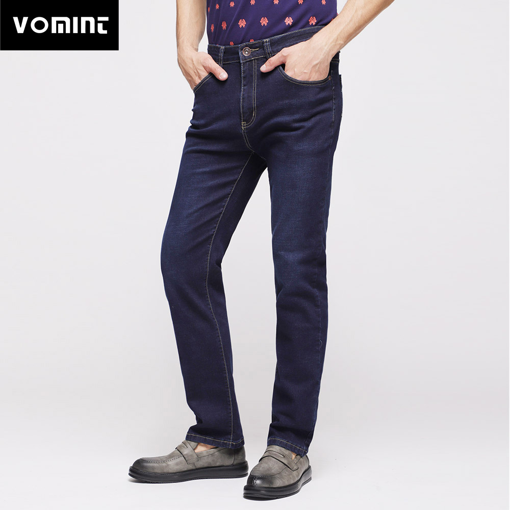 2018 Vomint Mens Jeans Smart Business Regular Straight Fit Classic Casual Denim Trousers Elasticity Stretch Fabric for Male Big