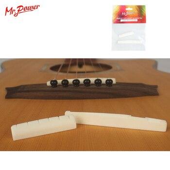 Bone Guitar String Bridge Saddle Blank And Nut Set For Acoustic Guitar Musical Instrument New 12 guitar guitar bridge ivory bone bone nut saddle acoustic bridge saddle