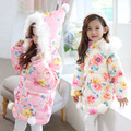 2016 Winter New Girls Thick Cotton Padded Jacket children's Fashion Trend Casual Floral thickening Coat Kids keep warm Coat
