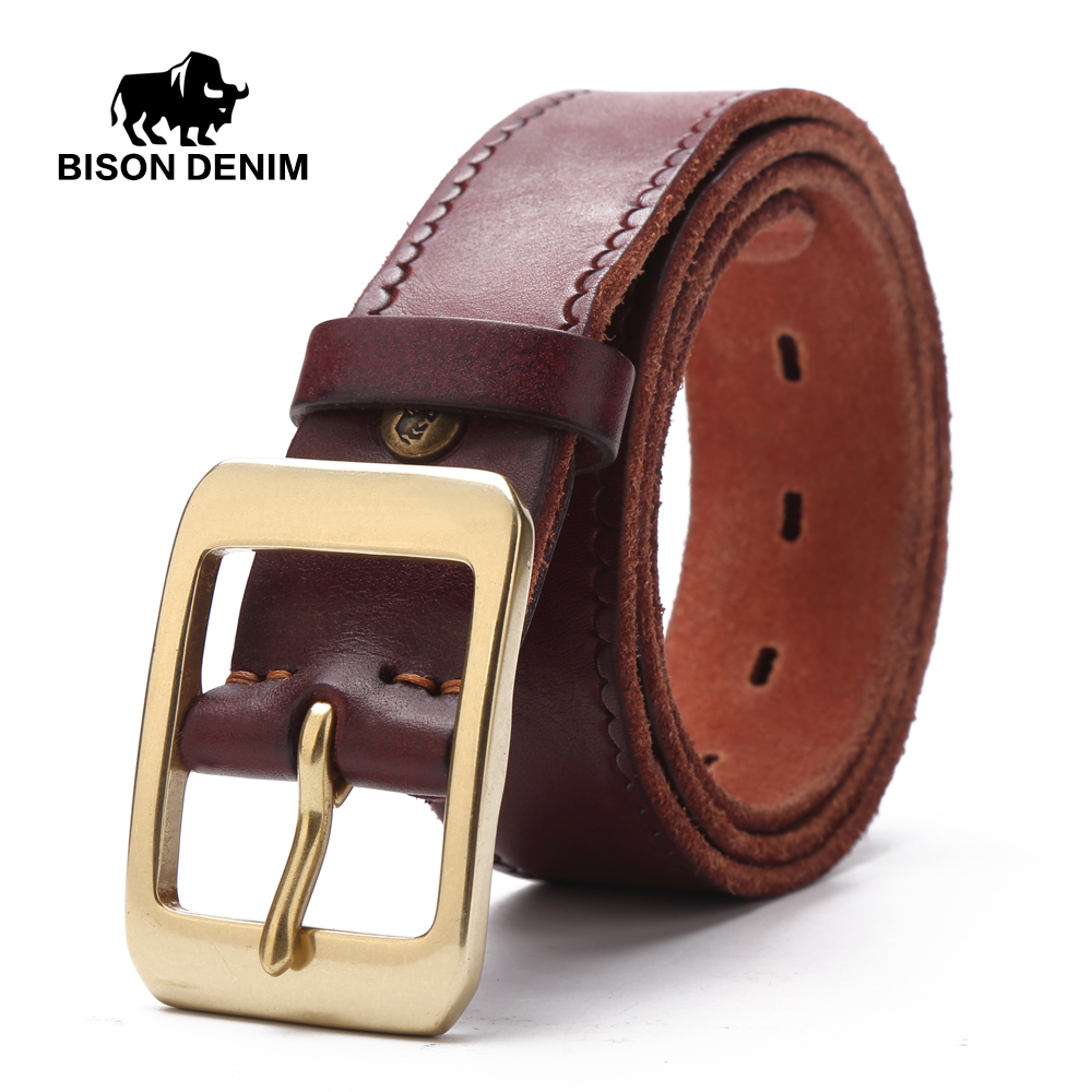 BISON DENIM Top Cow Genuine Leather Men Belt Black Brown Color Pin Buckle Hot Vintage Design Jeans Belt For Male N71026