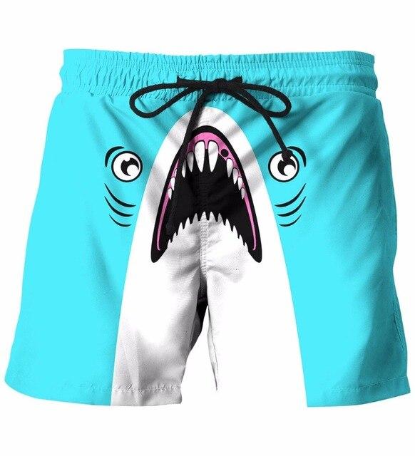Мужские Летом Отдых Пляж Шорты Симпатичные Акула 3D Шорты Мужской Уличной Хип-Хоп Шорты Шорты Борту
