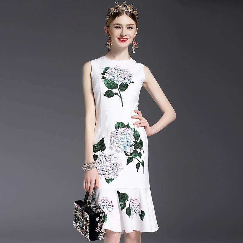 High Quality 2017 Designer Runway Summer Dress Womens elegant Mermaid Sleeveless Whiter Floral Printed Appliques Casual Dress