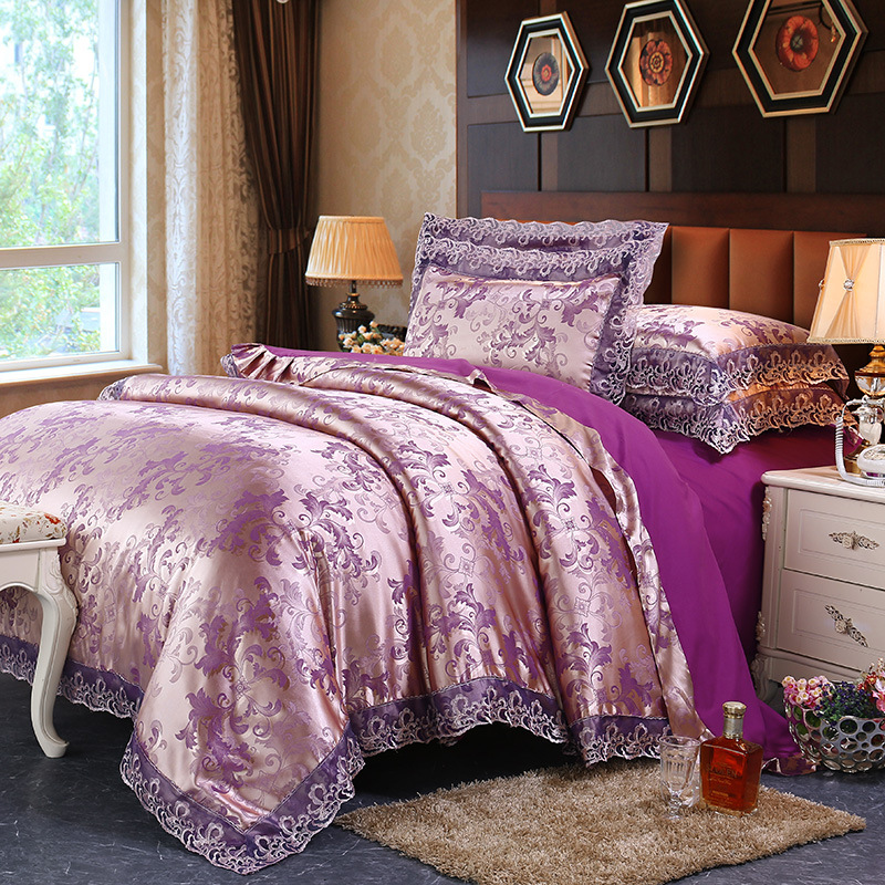 High End Luxury Lace Jacquard Sheets Bedding Set Quilt