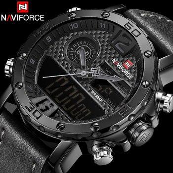 NAVIFORCE NF9134 Waterproof LED Digital Watch Mens Luxury Analog Quartz Wristwatch-Black