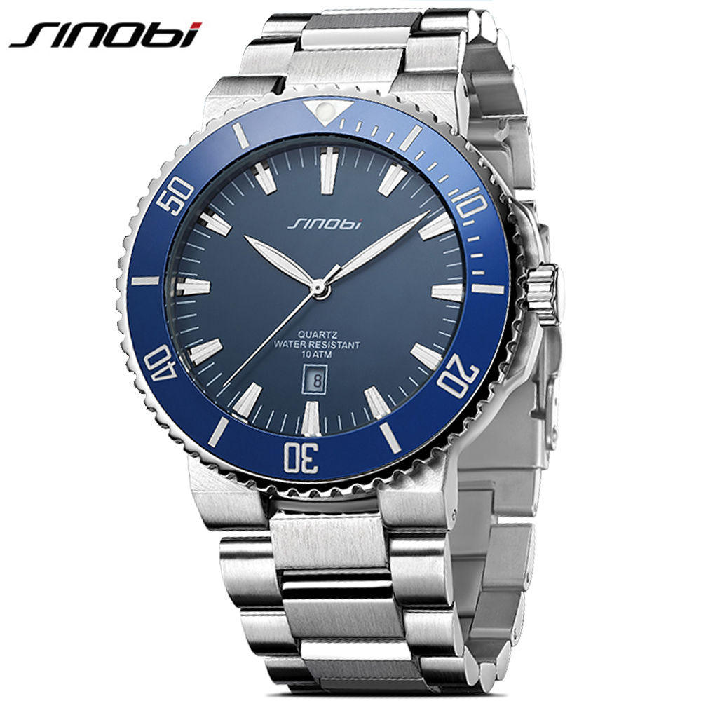 SINOBI High Quality Solid Stainless Steel Men Watch Diving Watch Men Top Luxury Business Watches 10ATM Waterproof relojes hombre relojes full stainless steel men s sprot watch black and white face vx42 movement