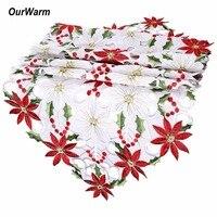 Ourwarm вышитая скатерть ришелье Цветочные Скатерти пуансеттия Холли листьев столовое белье Свадебные украшения Домашний Текстиль