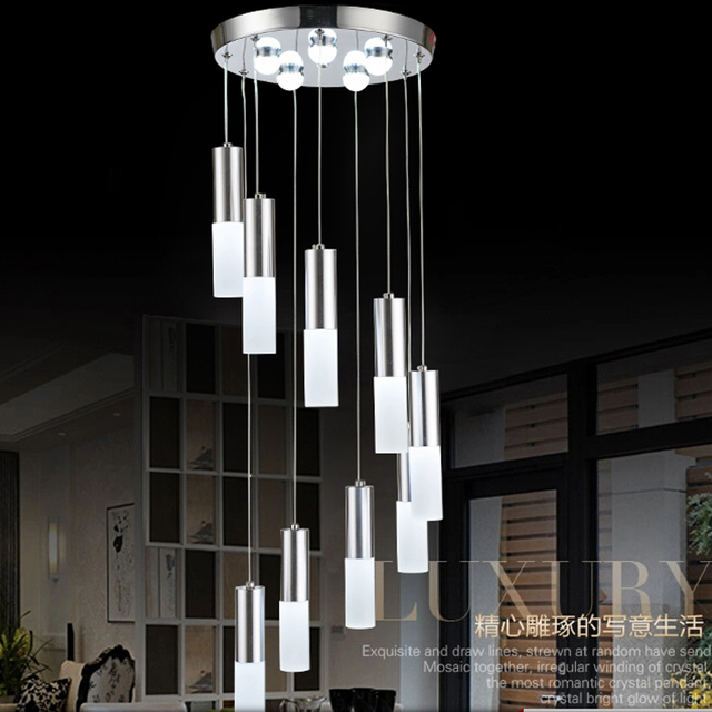 Led dining chandelier modern simple double staircase light led dining chandelier modern simple double staircase light personality creative dining room bar pavement decorative chandeliers mozeypictures Image collections