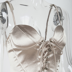 Image 5 - NewAsia Corset style Lace Up Club Dress Women 2019 Summer Sexy Padded Bra Satin Dress Woman Party Night Elegant Dress Champagne