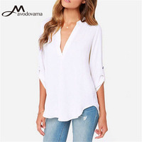 Avodovama M New Arrival Summer Casual Half Sleeve Women Blouse Female Plus Size S 5XL Solid