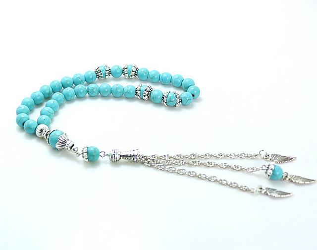 8mm blue Stone Round Shape 33 Prayer Beads Islamic Muslim Tasbih Allah Mohammed Rosary For Men&Women B-Q008