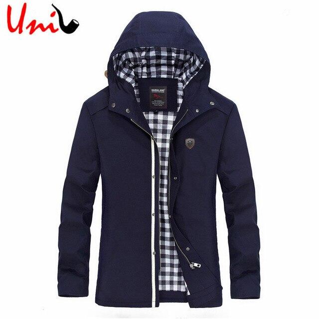 Uni-Splendor 2017 Hooded Long Zipper Jacket Cotton Autumn Winter Men Outerwear Slim Fit Classic Trench Coat Plus Size 5XL YN833