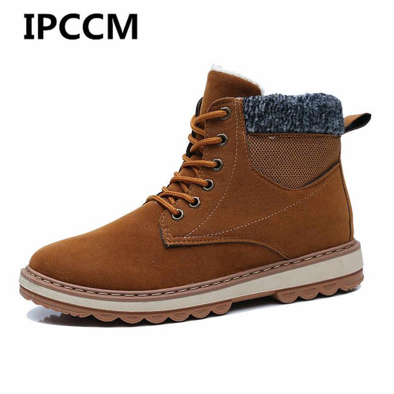 IPCCM 2018 зима Теплые  больших размеров из хлопка высокая обувь Для  Мужчин s Цвет соответствия замши 031170541e4