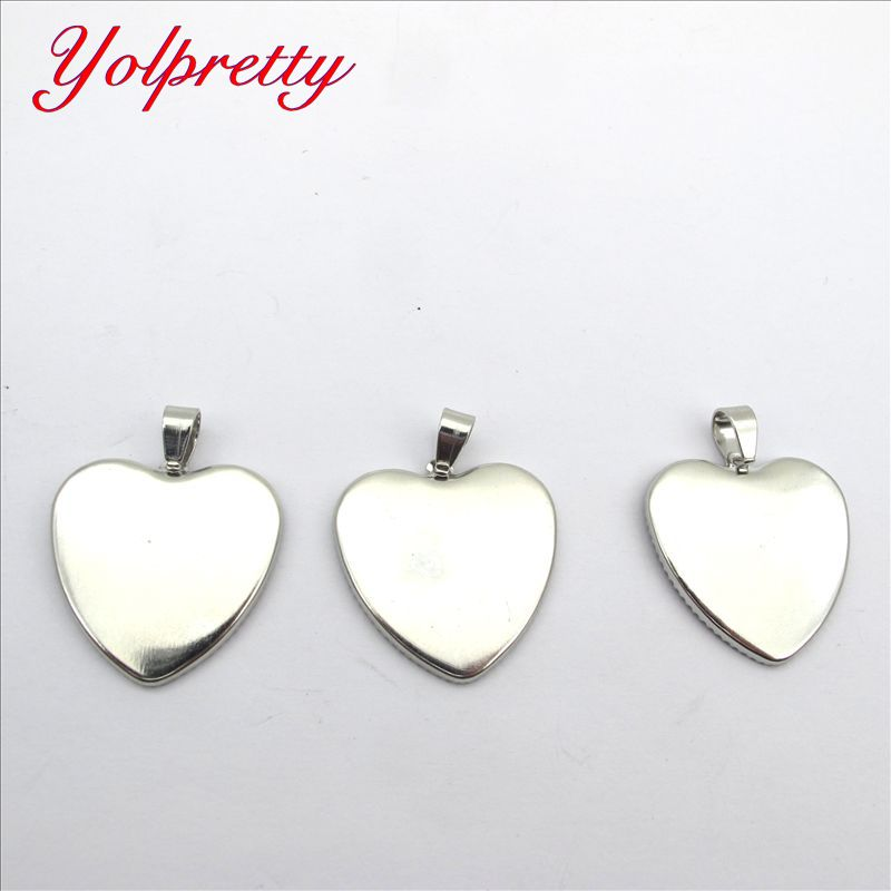 Yolprtty New Fashion 10pcs 25*25mm  Metal Fashion Silver Peach Heart Round Time Jewelry Necklace Base Accessories
