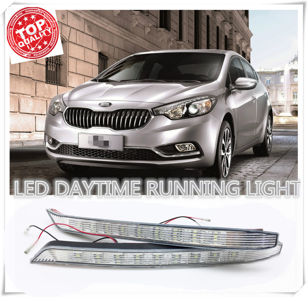 Factory direct sales Super bright LED DRL Daytime Running Lights for KIA K3 2012 2013 2014 2015 with fog lamp free shipping vland factory for mitsubishis 2013 2014 2015 pajero sport drl led daytime running light with turn lights