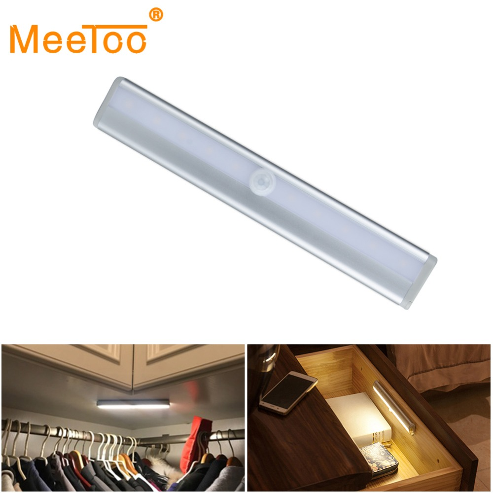 1PC 10LED Motion Activated Cordless Sensor LED Light Indoor Closet Drawer Lamp