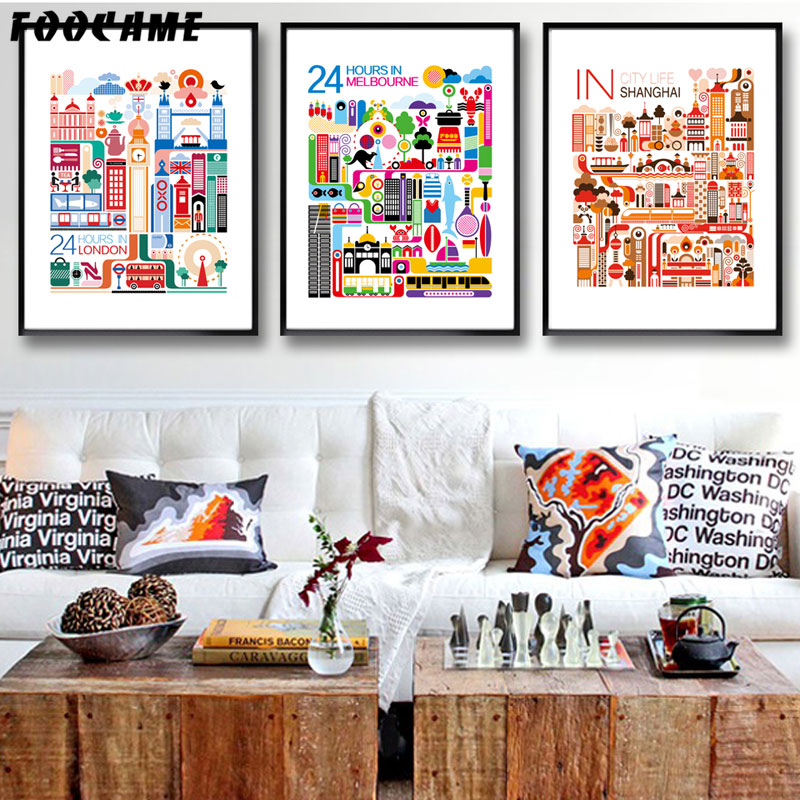 Home Decor Melbourne: FOOCAME City London Melbourne Shanghai Posters And Prints