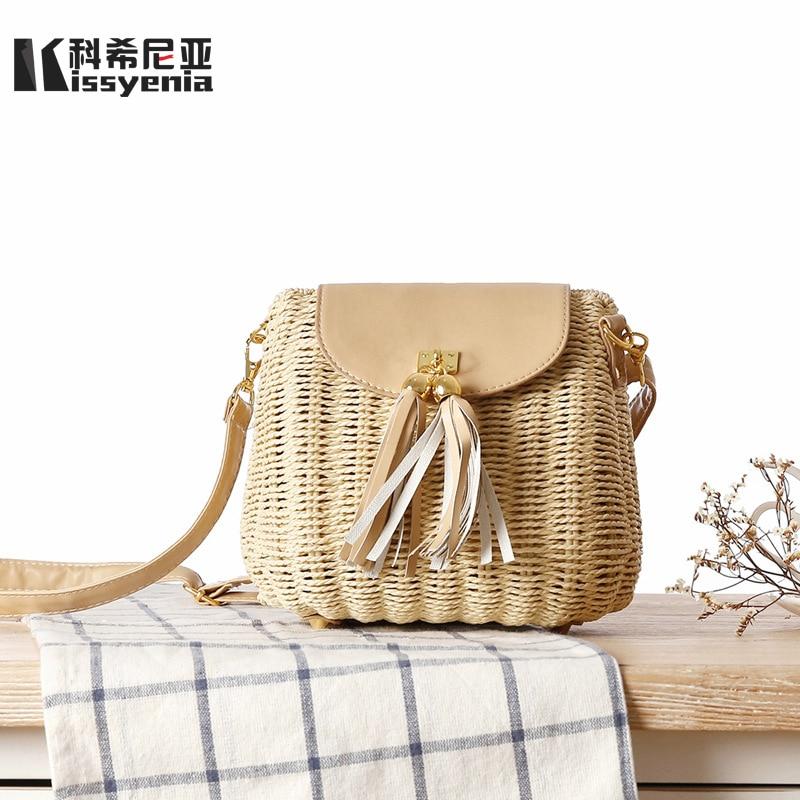 Kissyenia INS Hot Rattan Bags Handmade Summer Women Shoulder Bags Wicker Beach Bag Tassel Summer Handbags Straw Bags 2018 KS1165 beige tassel detail straw shoulder bags
