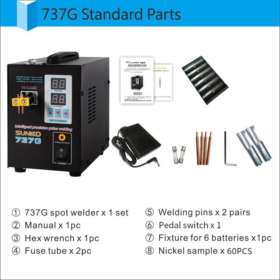 SUNKKO 737G Dual Mode Dual Pulse Dual Digital Display Battery Touch Welder Battery Spot Welder