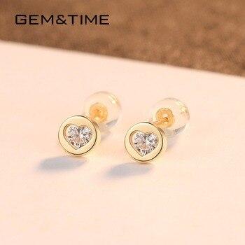 Round Heart 14K Gold Stud Earrings 3
