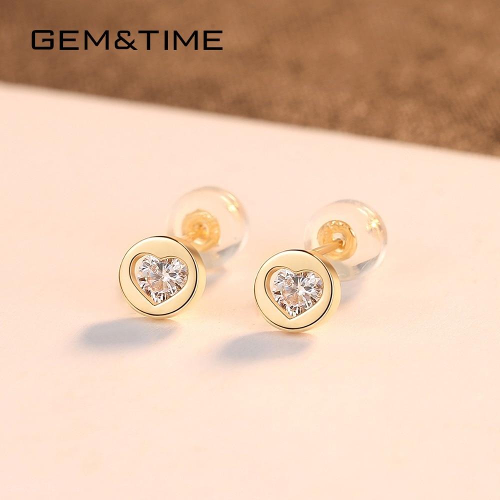 Gem & Time rond coeur solide 14K or boucles d'oreilles pour les femmes de mariage fiançailles bijoux fins or jaune Pendientes AU585 E14118 - 4