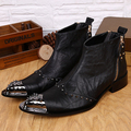 Free shipping New vintage Men's fashion Rivets business Ankle boots Pointed Toe Full Grain Leather cowboy Western boots for men