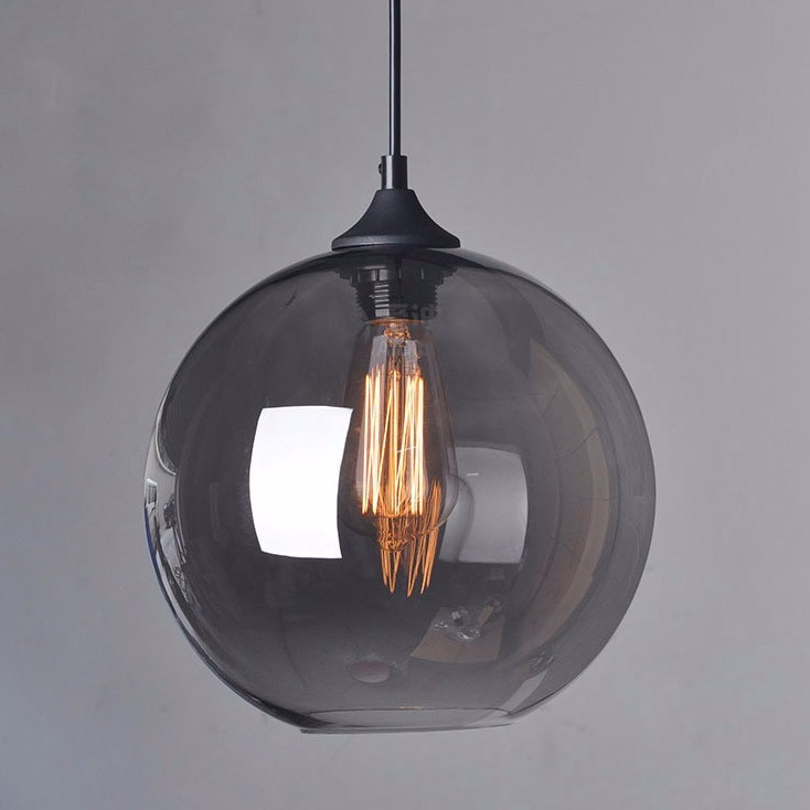 Suspension mode Hanging lamp glass ball hanging lights lamp shades Translucent gray blackish glass lampshades with light bulb one light frosted glass antique rust hanging lantern