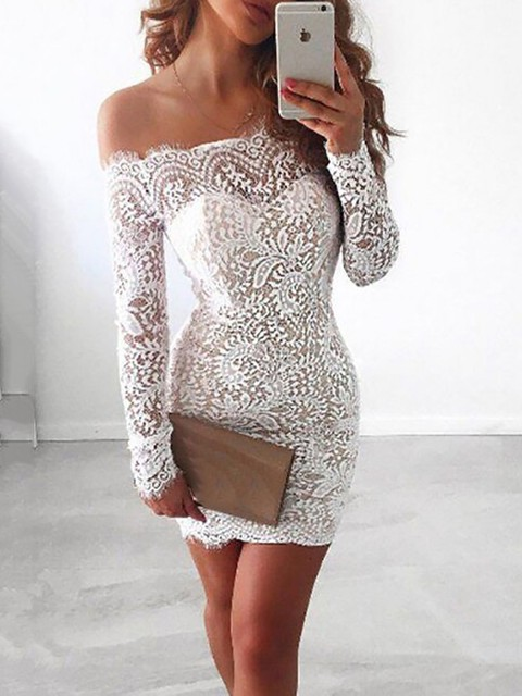 Sexy Lace Women Dress Long Sleeve White Black Off The Shoulder Mini Bandage  Dress Evening Party Dress 0c76100af