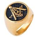 Мужские Золотые Покрытие Мейсон Перстень/Нержавеющей Стали Масоном Масонские моды золотое кольцо Колец