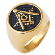Men's Gold Plating Mason Signet Ring/Stainless Steel Freemason Masonic fashion gold band Rings
