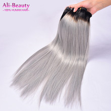 Unprocessed Virgin Brazilian Hair Two Tone Ombre Human Hair Extensions Ombre Grey Hair Weave Bundles Haar Extensions Tissage