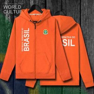 Image 4 - Brazil Brasil BRA Brazilian BR men zipper fleeces hoodies winter jerseys men jackets and nation clothes country sweatshirt coat