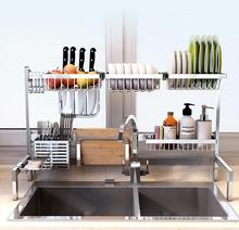 304 stainless steel sink, drain basket, kitchen shelves, hang dishes, plates, storage racks, utensils, household items