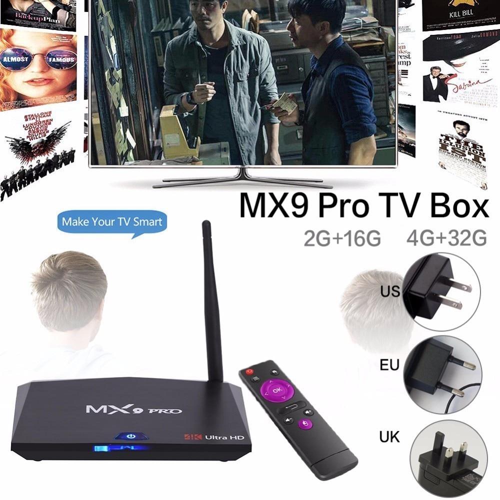 Новые MX9 Pro 4 ГБ Оперативная память 32 ГБ Встроенная память Android 7,1 ТВ коробка RK3328 4 ядра 2,4 г/5 г wi-Fi VP9 HDR 3D UHD 4 К Media Player комплект-топ Коробки
