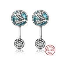 925 Sterling Silver Green Glass CZ Tree Of Life Design Earrings For Women Jewelry