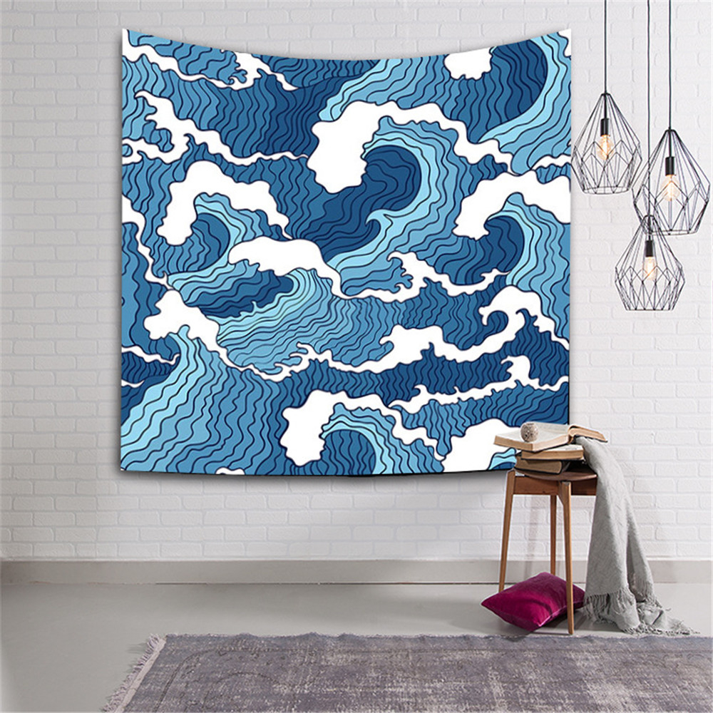 Japanese Ukiyoe Style Striped Tapestry Wall Hanging Home Decor Multi Use Geometry Sofa Carpet Cover Beach Blanket