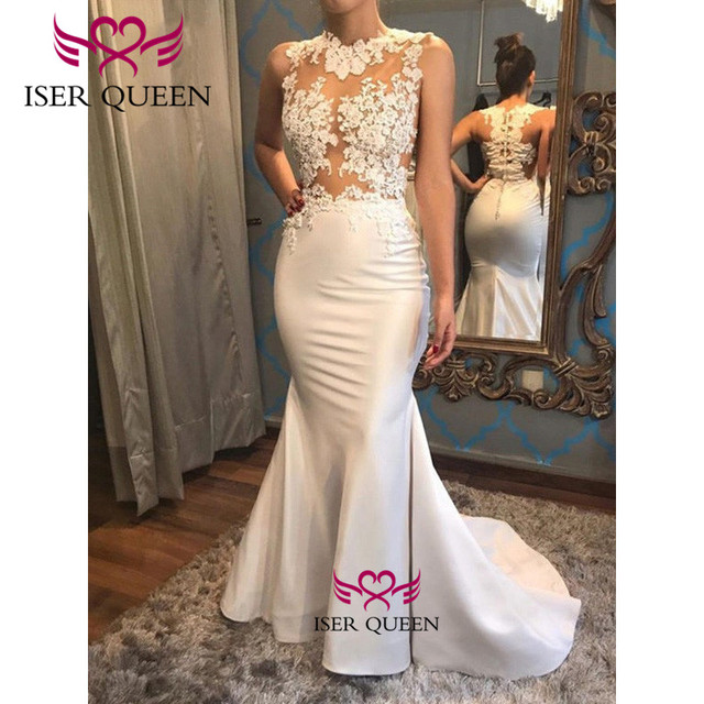 Embroidery and Appliques Satin Mermaid Wedding Dress Illusion Bride Dress 2019 Spanish Style Button Back Design Mermaid w0591 3